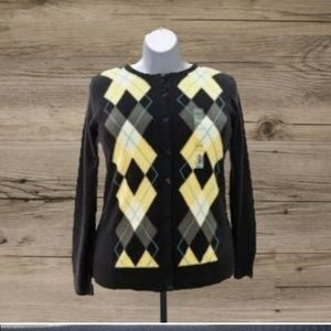 CROFT AND BARROW ARGYLE CARDIGAN SWEATER